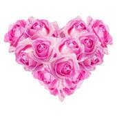 粉红色的玫瑰的心 — 图库照片