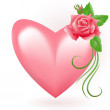 Heart with rose - Stock Vector