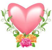 Coração com rosa — Vetorial Stock