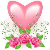 Cuore con rosa — Vettoriale Stock