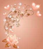 Rose met hart — Stockvector