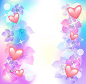 Valentine hearts with flowers — Stock Vector