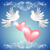 Two dove and two hearts — Stock Vector