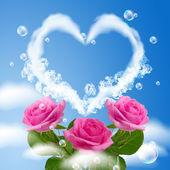 多云的心和玫瑰 — 图库照片