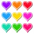 Set of colored hearts - Stock Vector
