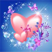 Srdce s květinami — Stock vektor