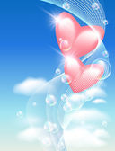 Hearts with bubbles in the sky — 图库矢量图片