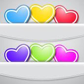 Sada barevných srdcí — Stock vektor