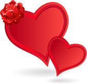 Twee rode harten en rose. — Stockvector