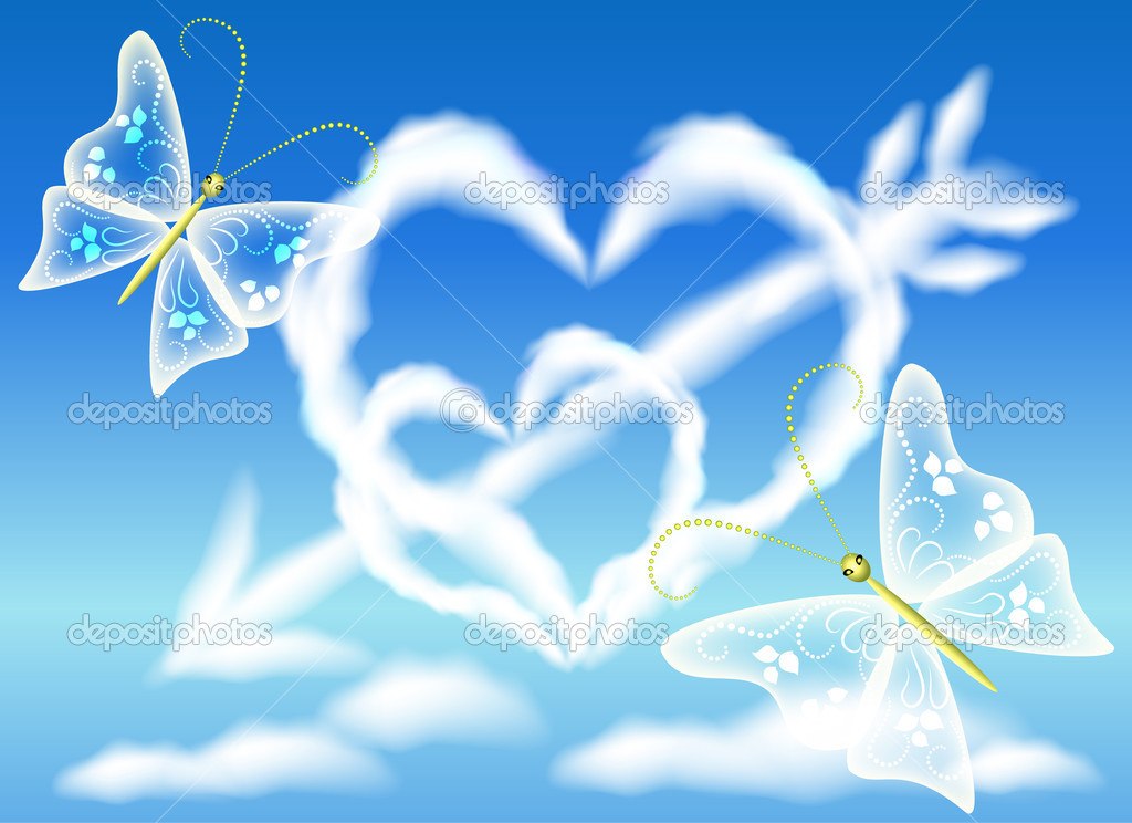 Cloud hearts in the sky and arrow  Stock Vector #19729509