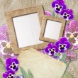 Grunge frame with pansy and paper - 图库照片
