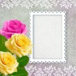 Roses and openwork frame - Stock Photo