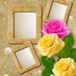 Photo frame with roses — Stock Photo