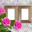 Roses and wooden frame — Stock Photo
