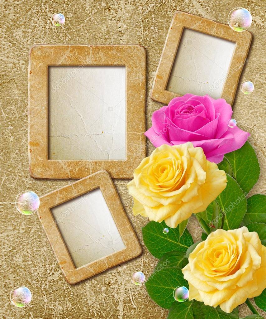 Old grunge background with photo frame with roses — Stock Photo #21184725