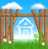 Wooden fence and clouds house — Stock Vector