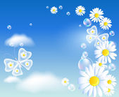 Mariposas y margarita en el cielo — Vector de stock