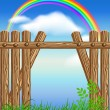 Stock Vector: Wooden fence on green grass and rainbow