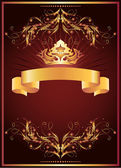 Luxurious golden ornament and crown — Stock Vector