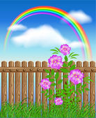 Wooden fence on green grass with flowers — Stock Vector