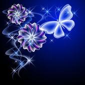 świecące kwiaty i motyl — Wektor stockowy