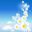 Butterflies and daisy in the sky — Stock Vector #26906889