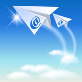 Two paper airplane with e-mail sign — Stock Vector