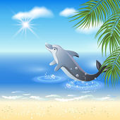 Dolphins leaps from water — Stock Vector