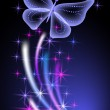 Glowing background with butterflies — Stock Vector