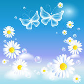 Butterflies and daisy in the sky — Stock Vector