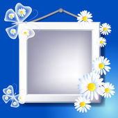 Frame, daisy and butterfly — Stock Vector
