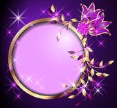 Kulatý rám a květiny — Stock vektor