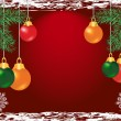Colorful christmas balls on red background — Imagen vectorial
