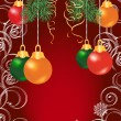 Colorful christmas balls on red background — Stock Vector