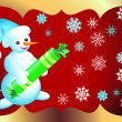 Christmas card with Snowman — Vector de stock