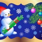 Christmas card with snowmen — Stock Vector #29547079