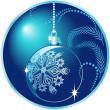Shiny blue christmas ball — Stockvectorbeeld