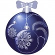 Shiny blue christmas ball — Stock Vector
