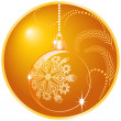 Stock Vector: Shiny yellow christmas ball