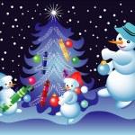 Christmas card with snowmen — Stock Vector #29547151