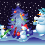 Christmas card with snowmen — Stock Vector #29547153