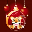 Christmas ball with a tiger — Stock Vector