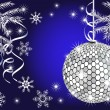 Shiny christmas ball on blue background — Imagen vectorial