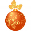 Shiny orange christmas ball — Stock Vector