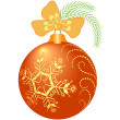 Stock Vector: Shiny orange christmas ball