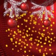 Christmas balls on red background — Stockvectorbeeld
