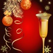 Christmas card with wineglass — Stock Vector