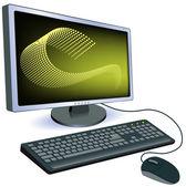 Monitorar com teclado e mouse — Vetorial Stock