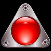 Red triangle button — Vector de stock