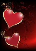 Card with decorative hearts — Vector de stock
